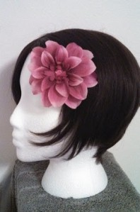 Silk flower with pink rhinestone